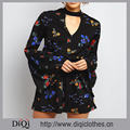 New Arrival Black Floral Print Choker Neck Flared Sleeve Design Mini Length Ladies Romper