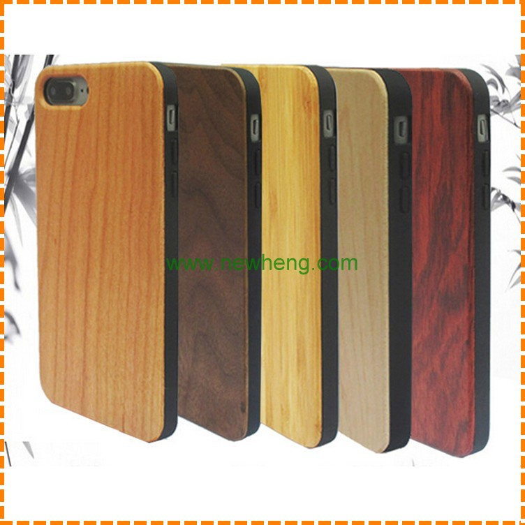 Wholesale natural unfinished wood bamboo tpu phone case for Iphone 7