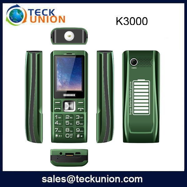 K3000 cell phones with strong 5000mah battery 2.4 inch dual sim cards heavy battery mobile phones