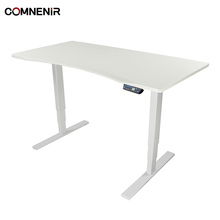 COMNENIR T7 140*70CM WHITE CURVE DESKTOP WHITE FRAME Electric Office Metal Frame Steel Column Sit Stand Height Adjustable Desk
