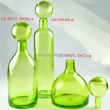 Wholesale Modern Handmade blown glass art green color gorgeous designs vases