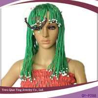 green synthetic pigtail short braid party wigs