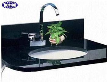 black granite vanity top with porcelain sink