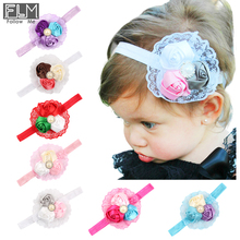 Baby Hair Accessories Elastic Headbands Small Rose Flowers With Lace/Pearl Decorated Hairbands For Girls Kids Head Band WOH-007