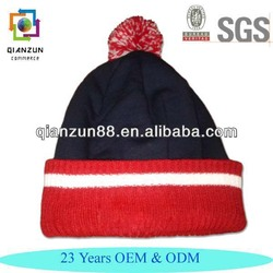 Custom Folding Ribbed With Top Pom Embroidered Beanie Hat