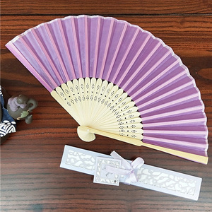 [I AM YOUR FANS] Sufficient stock! Lilac Plain bamboo craft hand fans for wedding Lady silk gift fan
