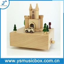 Castle Wooden Music Box Xmas Gift/Custom Songs Musical Box wedding souvenirs