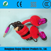 Hot selling new design silicone bobbin winder for promotion,high quality silicone earphone wire/cable tidy winders
