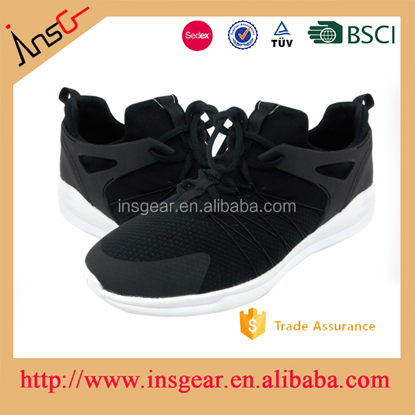 the insgear hot adult bulk wholesale male model leather and fabric sneaker shoes