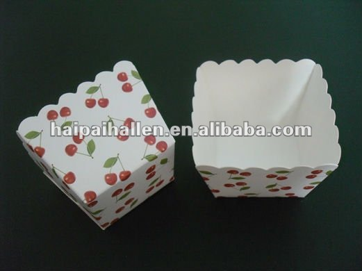 Red cherry square Cupcake Liners Muffin cases with factory price