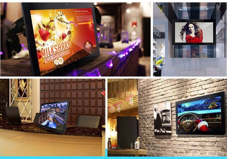 New products restaurant/hotel/bar lcd HD 32'' inch wall mounted kiosk advertising player