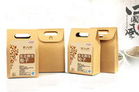 die cut handle kraft paper bag for snack packing / Brown kraft paper food retail packaging bag