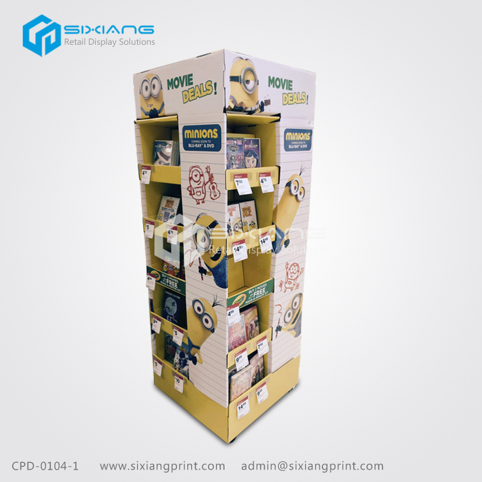 Advertising CD DVD VCD Paper Pallet Display For Movie Deals