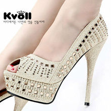 peep toe wash gold bling dress high heel platform shoes with diamond
