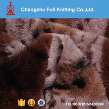 long hair faux fur printed camel color curly plush fabric