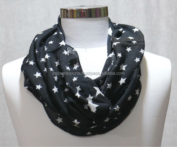 cotton star print infinity scarves
