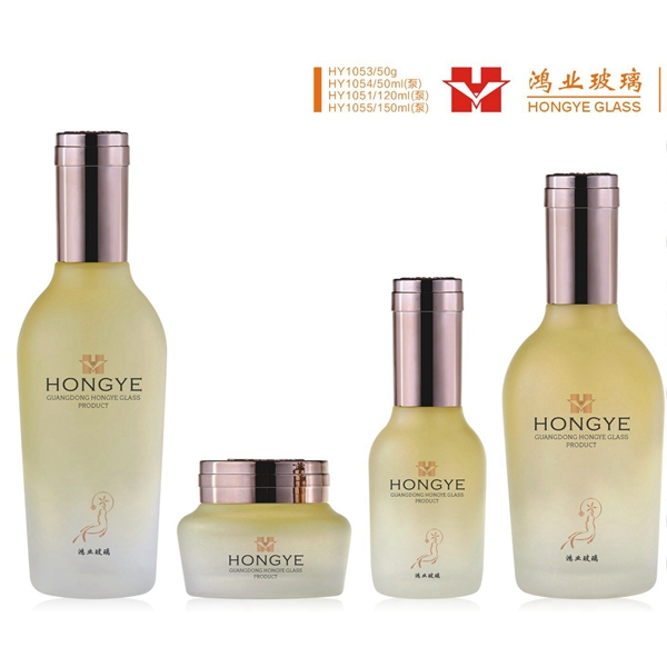 Fashion packaging rice white empty cosmetic sets round glass bottle with pump HY1053