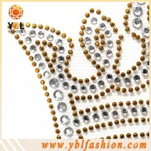 crown design gold studs rhinestone hotfix transfer for girl dress