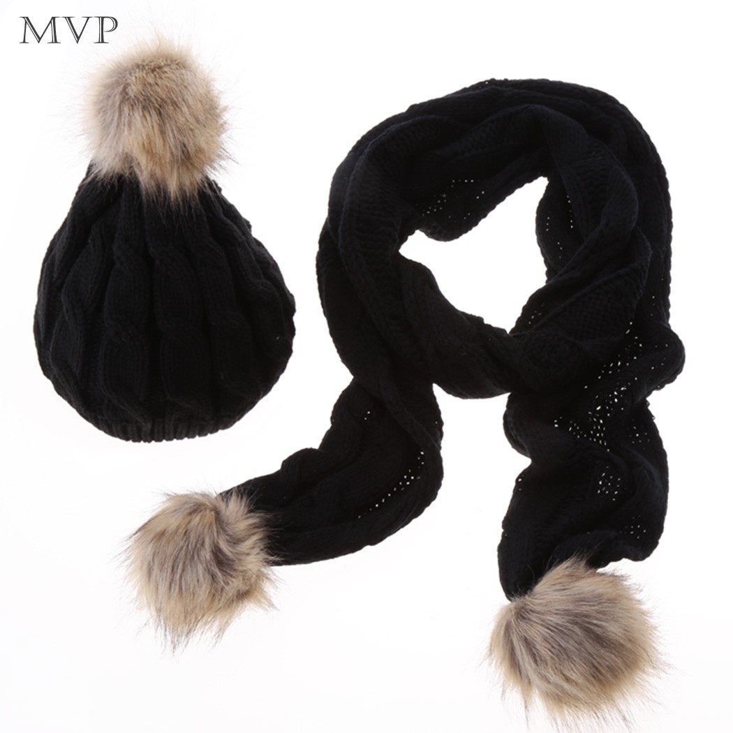2015 New Women Scarf Hat Set Faux Fur Ski Hat Scarf Knitted Cap Thick Wool  Scarf Set 5 Colors Free Shipping 12 e4c0d07c127