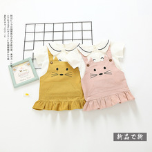 0-3 years wholesale New 2017 Summer Cotton ins Girls Sets Blouses & Cat Strap Dress 2 PCs Set Kids Sets (pick size color)
