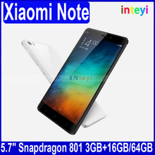 Original Xiaomi Note Mobile Phone Mi Note 4G FDD LTE Snapdragan801 Quad Core 3GB RAM 16GB/ 64GB ROM Camera 13MP 5.7 inch screen