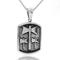 Hip Hop Antique Color Corrosion Engraved Axe Shape Stainless Steel Dog Tag Pendant Men