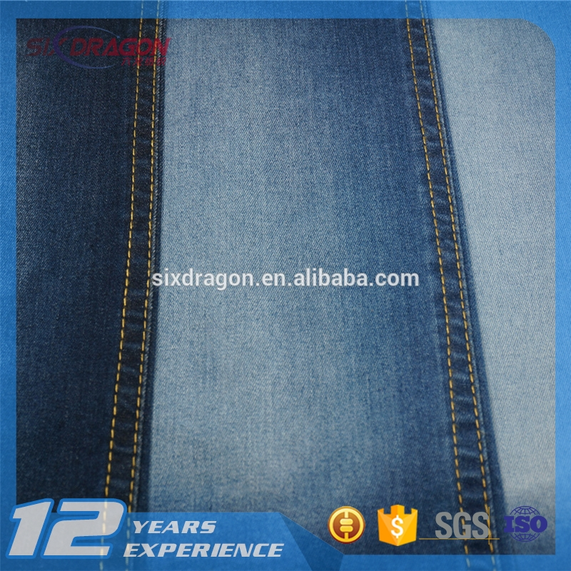 pure cotton lycra 3/1 twill denim fabric in plain dyed color