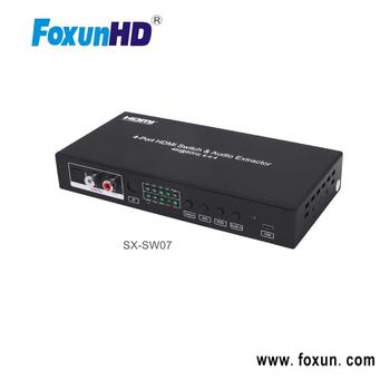 Foxun 4x1 HDMI 2.0 switch 18Gbps support 4k@60hz HDR10 3D HDCP2.2 ARC CEC Support audio mixing,Aux 2.0  SPDIF 5.1