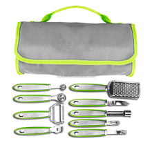 10-piece Garnish Set with Storage Case in green
