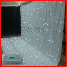 Good WLK-2W White fireproof Velvet cloth White leds backdrop white and black stage decoration /led star cloth