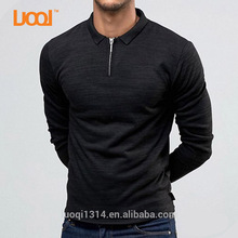 Luoqi Oem High Quality 100% Bamboo Cotton 190g Long Sleeves Polo Neck Black Custom Polo T Shirt Men