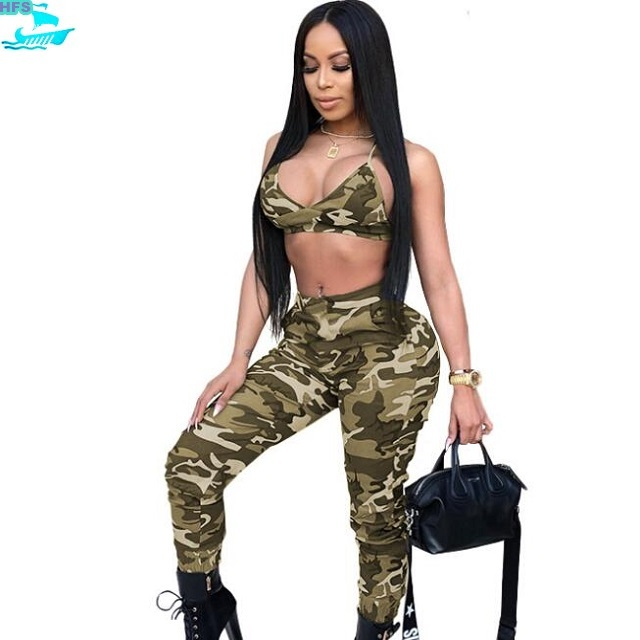 HFS1430B Fashion Casual Clothing Sets Camouflage Women Sport Suits