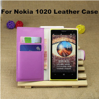 New Arrival Cheap Lychee Grain Folio Wallet Stand Leather Case For Nokia Lumia 1020 with Magnet Buckle