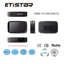Mini size full plastic Fully comply with DVB T and H.264 MPEG4 MPEG2 DVB T2 set top box