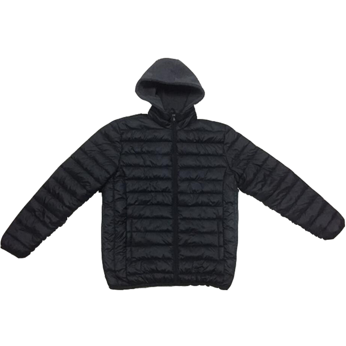Ready made garment Men winter hooded padded jacket with fur lining