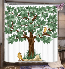 2017 leaf print shower curtain 3d digital print of green tree printing shower curtains T6