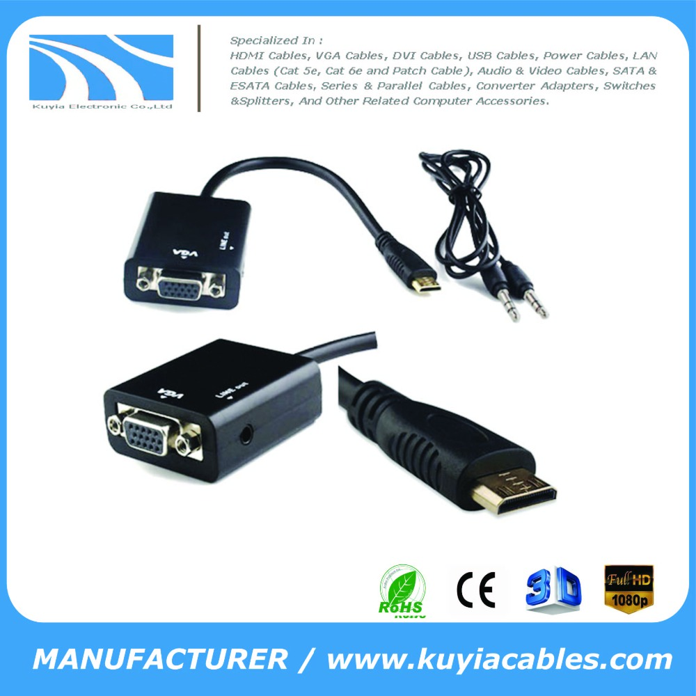 Mini HDMI Male to VGA Female Audio / Video Converter Adapter Connector Cable For HDTV, Projector, Monitor, PC, TV, Notebook, Lap