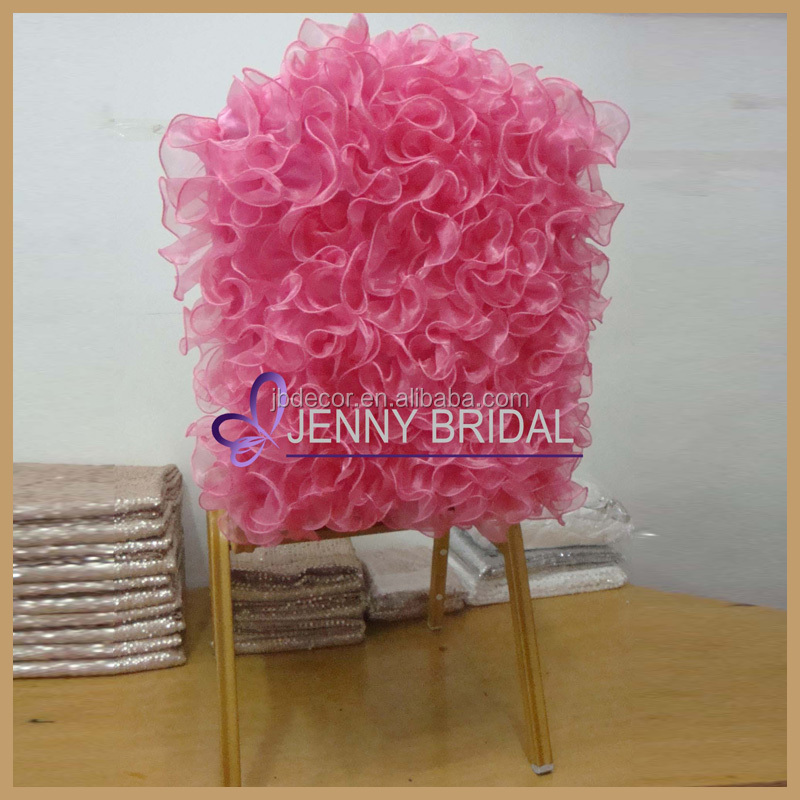 C004P new arrival 100%polyester fuschia ruffled organza weeding chair cover