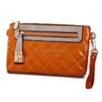 metal zipper bright hand clutches and purses bag with wrist band