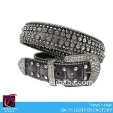 Gray Alligator embossed studded leather belt with changeable buckle
