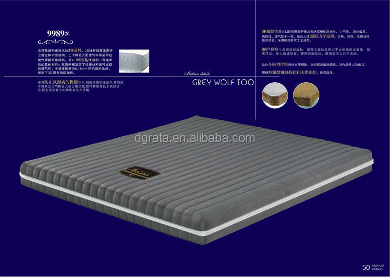 2014 Top healthy comfortable mattress is made by 3D material and Natural latex for bedroom