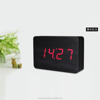 2015 best selling antique big size LED Sound sensor decorative wooden desk table digital alarm clock/Wooden alarm clock