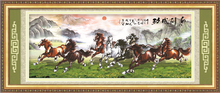 Eight horses running round diamond painting with beautiful beacock, diy diamond painting, diy diamond painting kit