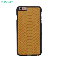 Cattle Hide Full Grain Genuine Leather Case Python Embossed Leather Cover for iPhone 6