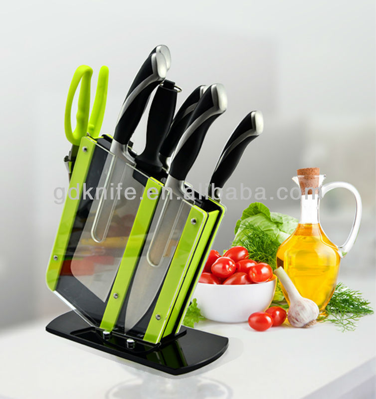 High quality 7pcs double steel head stainless steel kitchen knife set