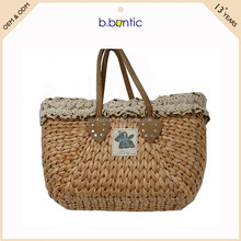 eco-friendly woven straw tote bag plaid handbag women