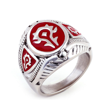 Jingli jewelry factory direct boys rings fashion 2016World of Warcraft rings, red enamel wow logo rings(HF-075)