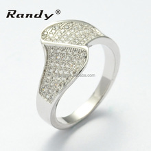 Mens Sterling Silver Ring Pave Settings Titanium Magnetic Ring
