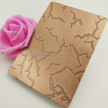 304 Stainless Steel Etched Copper Plated Decorative Sheet With Crack Pattern
