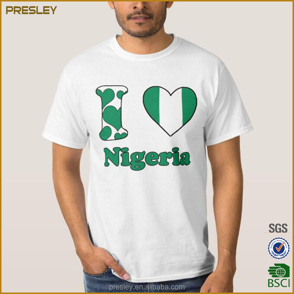 Factory Supply I Love Nigeria Men's Heavy Cotton Jersey 240gsm Men's T-Shirts